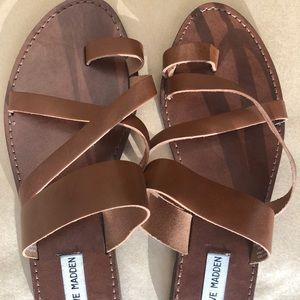 Steve Madden strappy brown leather sandals S 10
